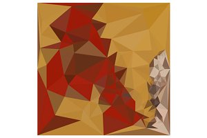 Red Ginger Abstract Low Polygon Back