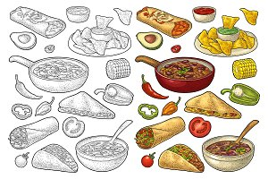 Mexican food set engraving