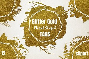 Glitter Gold Floral Shapes Tags