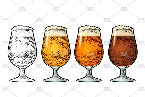 Glass with three types beer. Vintage