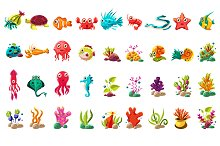 Cute sea life creatures cartoon