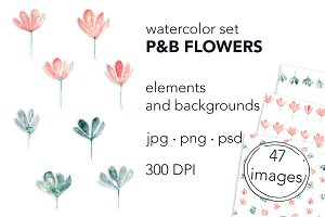 "Watercolor set ""P&B flowers"""