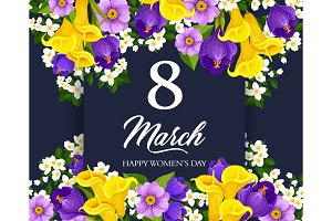 Women Day greeting card with border