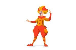 Cartoon circus clown with fake nose