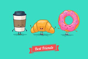 Funny coffee, croissant, donut.