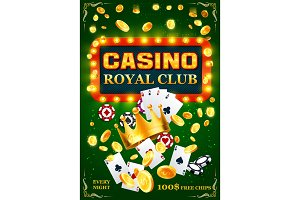Casino poker cards, chips and coins