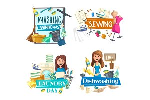 Washing window, cleaning, sewing