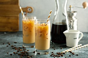 Cold brew iced coffee in tall glasse