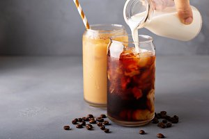 Cold brew iced coffee in glass bottl