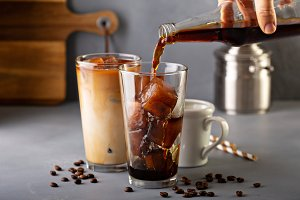 Iced coffee in tall glasses