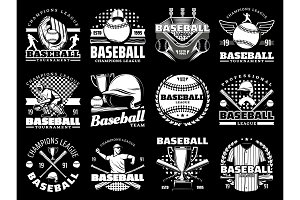 Baseball game sport vector icons