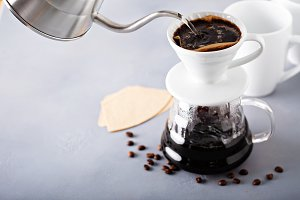 Pour over coffee being made