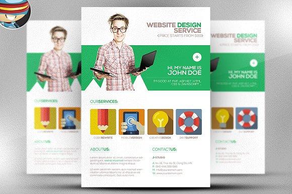 flat style web designer flyer flyer templates on creative market. Black Bedroom Furniture Sets. Home Design Ideas