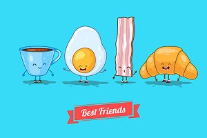 Funny cup, egg, bacon, croissant.