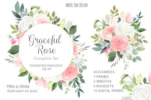 Graceful Rose Clip Art Complete Set