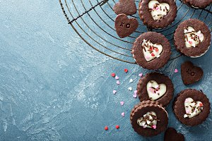 Heart shaped chocolate cookies with