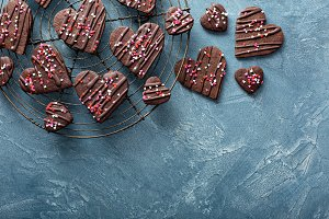 Chocolate hearts cookies for Valenti