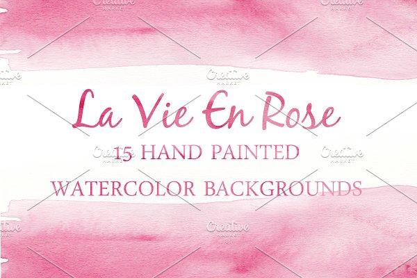 Watercolor Backgrounds-LaVie En Rose