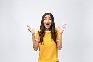 Happy young asian woman with blank