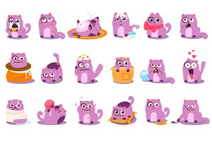Cute cartoon cat in various poses