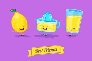 Funny glass, lemon and  juice.Vector