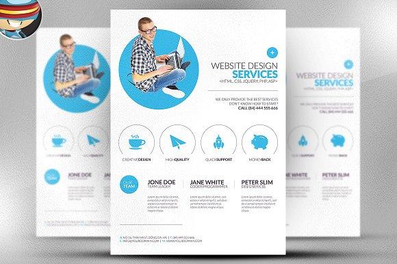 Minimal Web Design Flyer Template Flyer Templates on Creative Market – Web Flyer Template