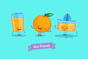 Funny glass, orange and  juice.