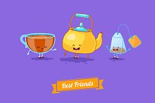 Funny teapot, cup and teabag.