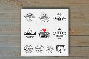 Wedding vector set badges and logos