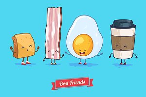Funny cup, egg, bacon, coffee