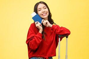 Woman travel. Young beautiful asian