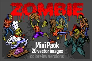 Zombie - 20 vector images. Color+bw.