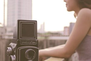 Yashicaflex camera with a girl