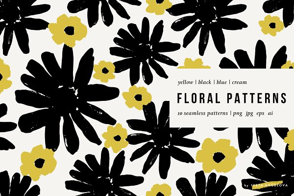 Graphic Patterns: Iveta Angelova - Bold Florals | Seamless Patterns Set