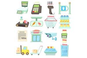 Supermarket items icons set, cartoon
