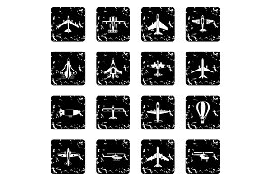 Air transport icons set, grunge