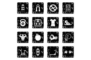 Sport icons set, grunge style