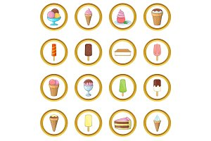 Ice cream vector set, cartoon style