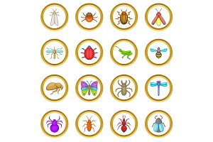 Insects vector set, cartoon style