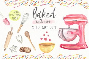 Watercolor Clip Art - Baking