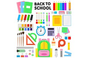 School supplies vector schooling
