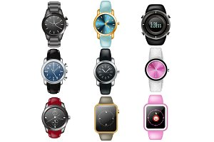 Watch vector business wristwatch or
