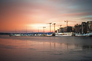 Oslo harbor at sunrise
