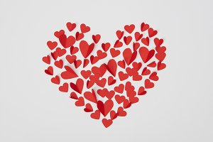 heart shaped arrangement of small re