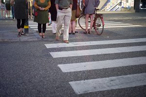 People on a crosswalk, Stockholm