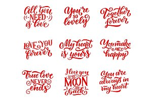 Valentines Day signs and lettering