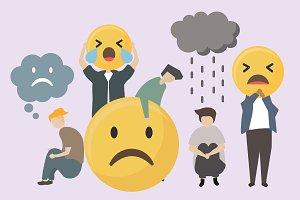 People with sad and angry emojis