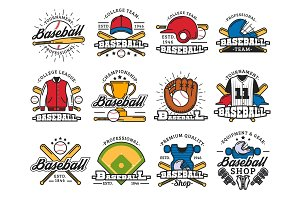 Baseball sport game isolated icons