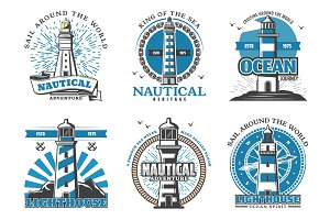 Lighthouse and beacon vector icons