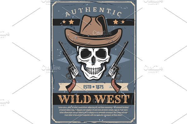 d8edd96069c00 Cowboy skull in hat ~ Graphics ~ Creative Market